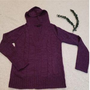 RUE 21 Maroon Medium Knit Pullover Hoodie Sweater